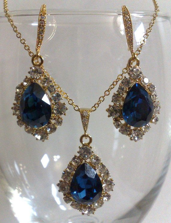 Something Blue Wedding Jewelry Set Navy Bridal Earrings Teardrop