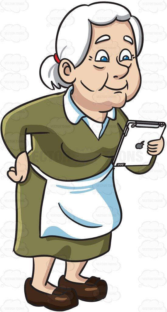 An old woman reading from an ipad #cartoon #clipart # ...