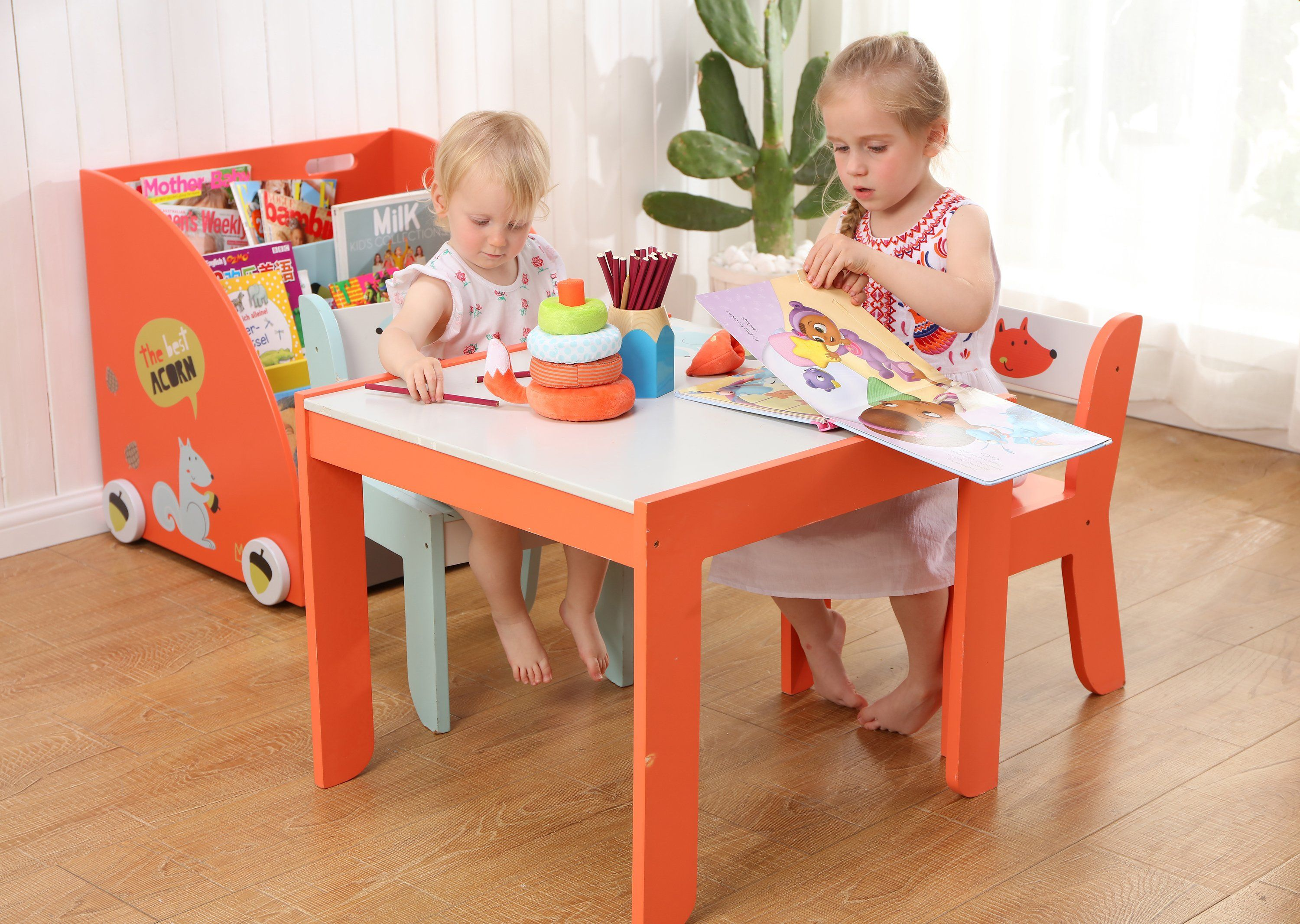 Wooden Activity Table Chair Set Fox Printed White Toddler Table