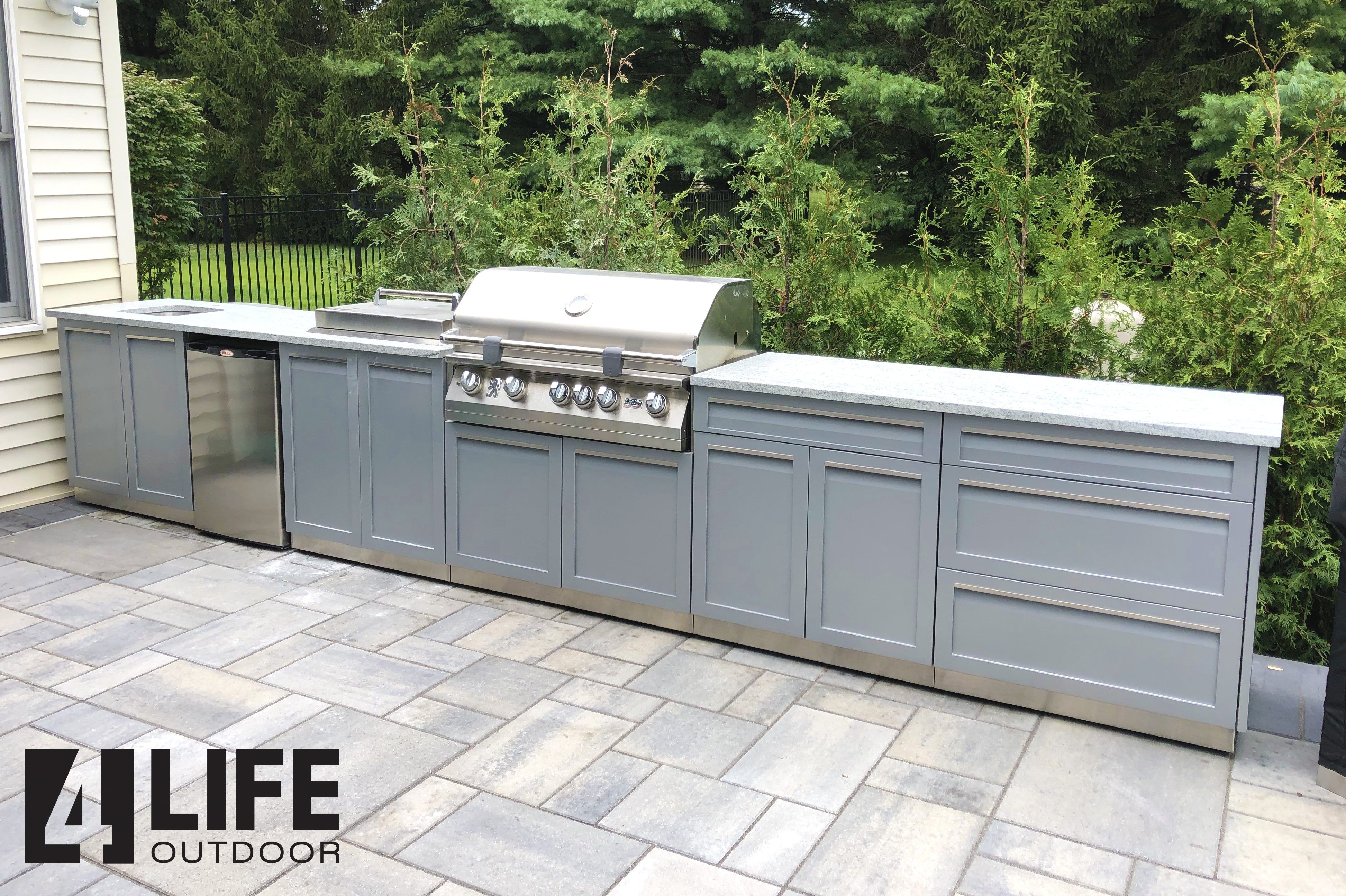 4 Piece Gray Stainless Outdoor Kitchen Cabinet Set 4 Life Outdoor Inc Outdoor Kitchen Cabinets Outdoor Kitchen Kitchen Set Cabinet