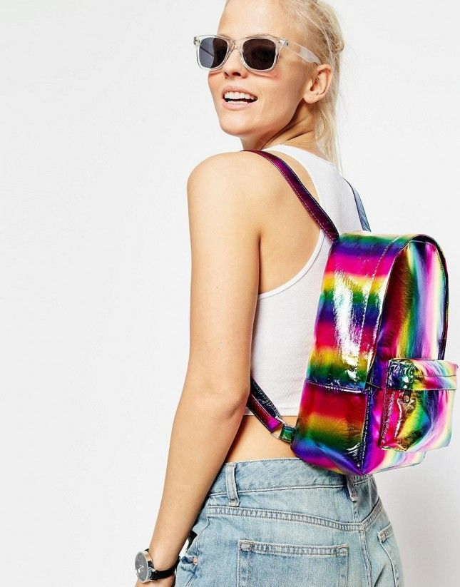 Grab this mini rainbow backpack to wear to the Pride Parade.