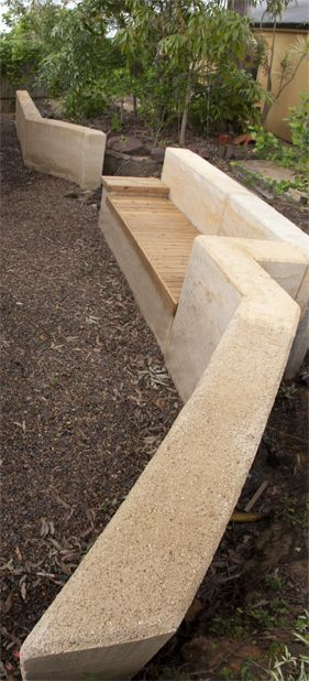 Retaining Wall Seat Rammed Earth Nice Idea For The Slope In The Backyard Poured Concrete Patio Landscaping Retaining Walls Sloped Garden