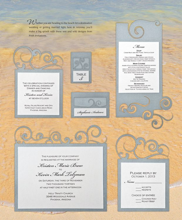 Gorgeous Beach Water Themed Wedding Invitations Pretty In Paper