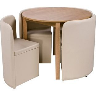 Buy Hygena Wooden Space Saver Table and 4 Cream Chairs at Argos.co ...