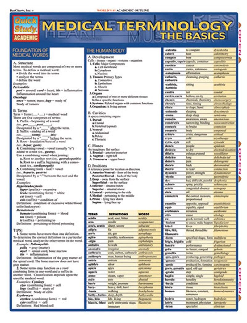 Barcharts Basic Medical Terms Reference Study Guide Medical