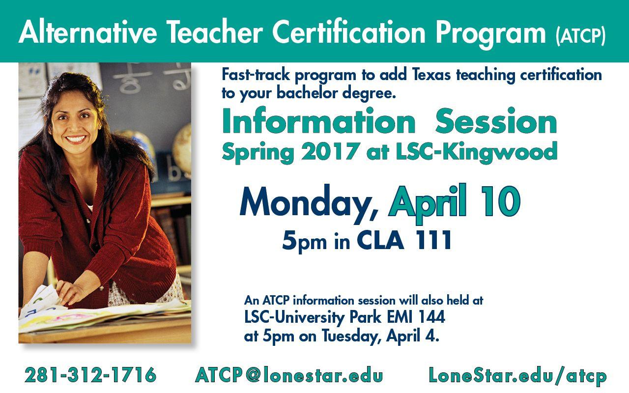 Alternative Teacher Certification Program Information Session 410