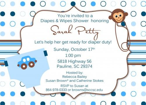 boys printable diaper baby shower invitation ElizaTate Digital - printable baby shower invite