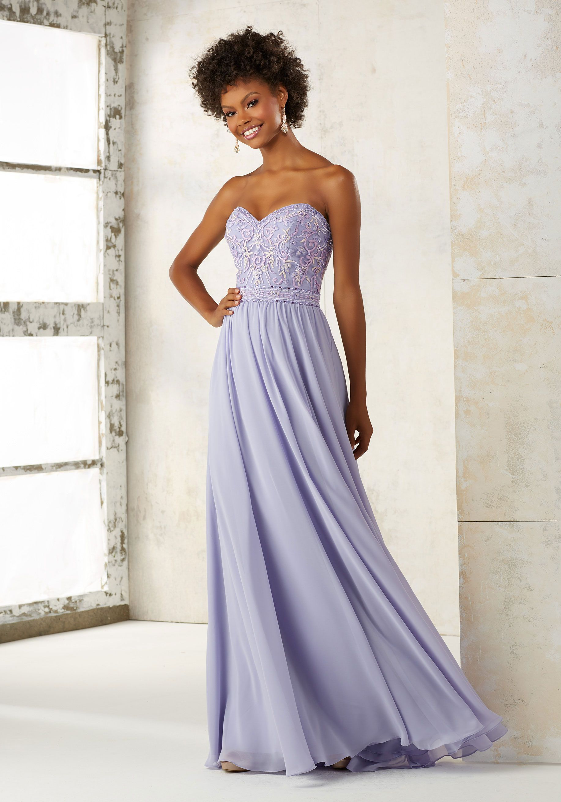 Morilee by Madeline Gardner Bridesmaids Style 21501 | Bridesmaids Dress Featuring a Fitted Strapless, Sweetheart Bodice Accented with Intricate Embroidery and Beading. The Flowy Chiffon Skirt Completes the Look. Zipper Back