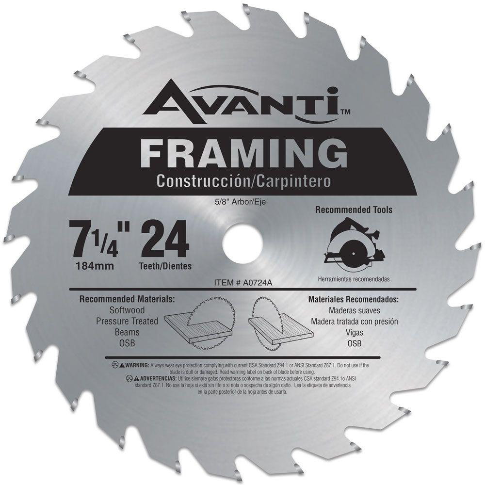 A0724a Avanti Framing Circular Saw Blades 7 1 4 24 Tpi In 2020 Circular Saw Blades Portable Table Saw Table Saw