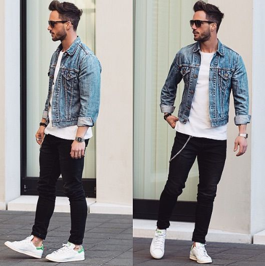 How To Wear Denim Jacket Men Mens Outfits White Jeans Men Mens Street Style