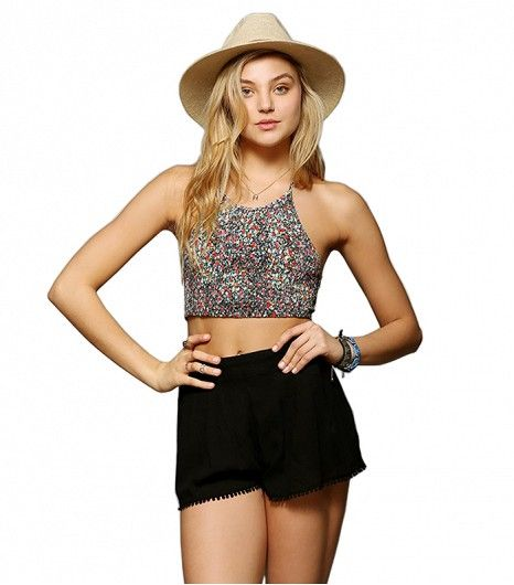 Pins And Needles Smocked Cropped Halter Top ($39)