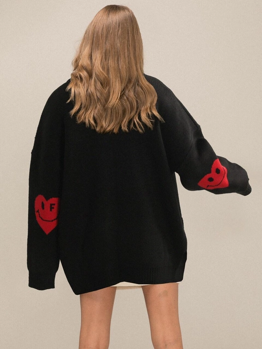 [UNISEX]Elbow Heartsmile Knit Cardigan_Black | W Concept