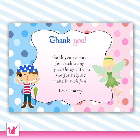 Pirate Fairy Thank You Card Pixie Pink Blue Kids Birthday Party