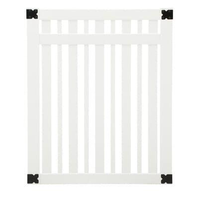 Veranda Pro Series 4 Ft W X 5 Ft H White Vinyl Lafayette Spaced Picket Fence Gate 144721 The Home Depot In 2020 Picket Fence Gate Fence Gate Picket Fence