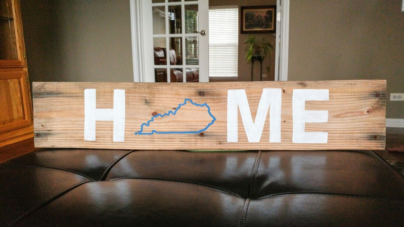 HOME Kentucky • Reclaimed wood sign. Hand painted.