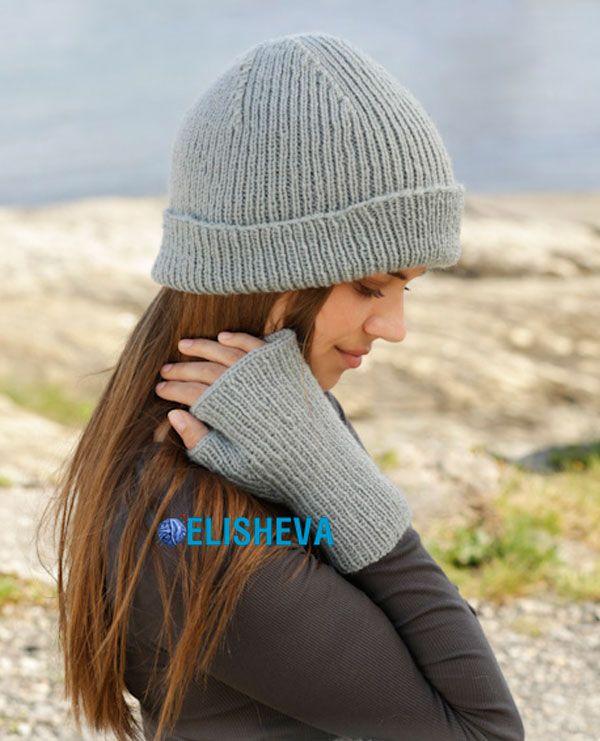 простое вязание спицами шапка и митенки Paula от Drops Design