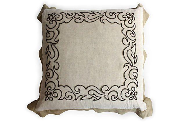 VSI Embroidered Linen Pillow II on OneKingsLane.com