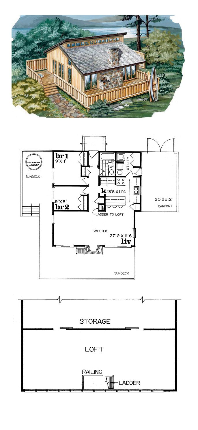 contemporary house plan 55126 total living area 936 sq ft 2 - Sw Small House Plans