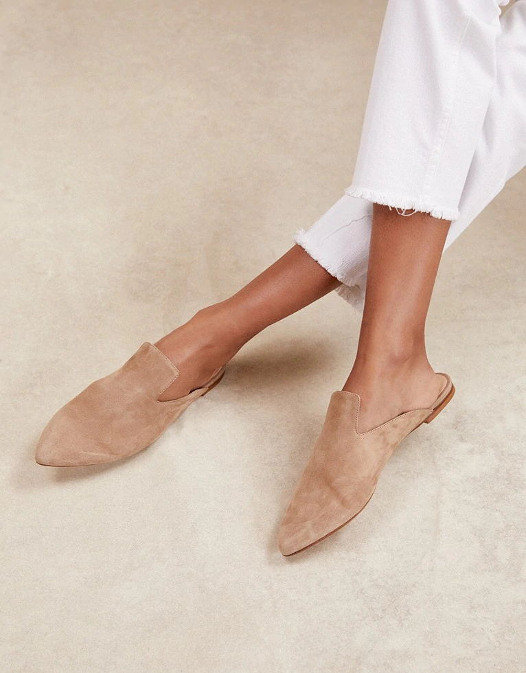 Suede Slip-On Mules   Shoes, Sandals