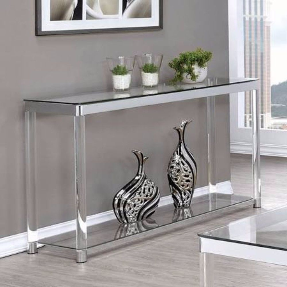 Glass Top Sofa Table Coaster 720749 In 2019 Table Coasters