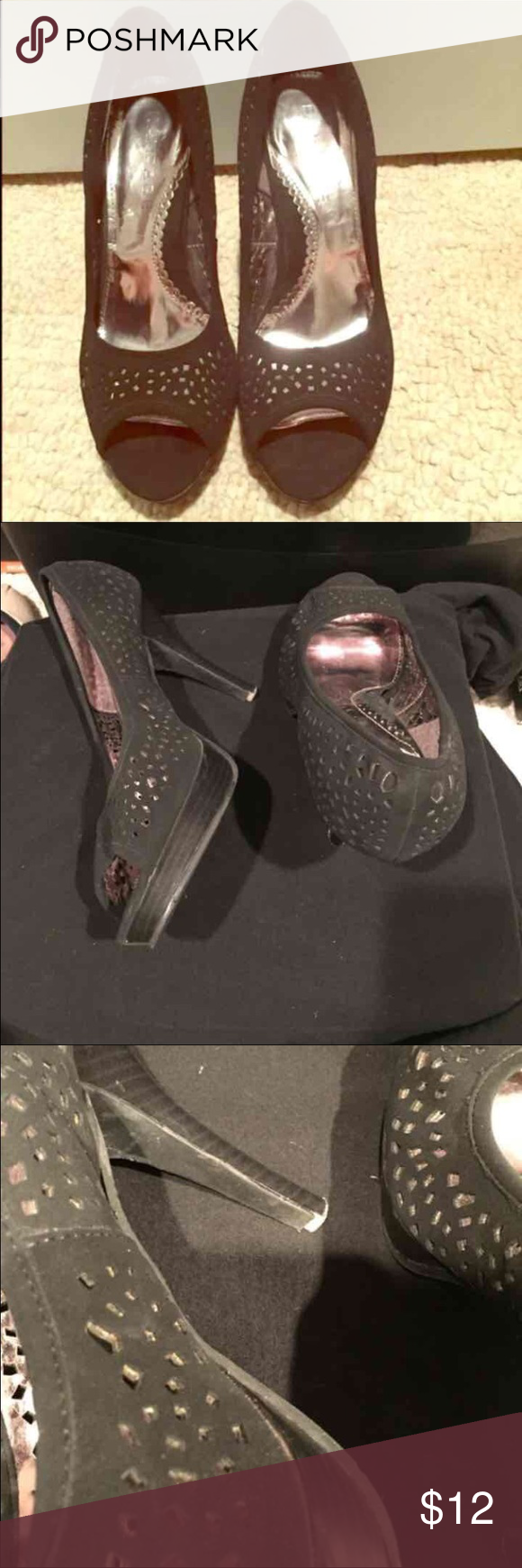 Rampage laser cut out black heels Worn a few times. One of the heels has a small piece missing on the inner heel that isn't noticeable when on. Comfortable and great with any outfit! Size 10. Rampage Shoes Heels