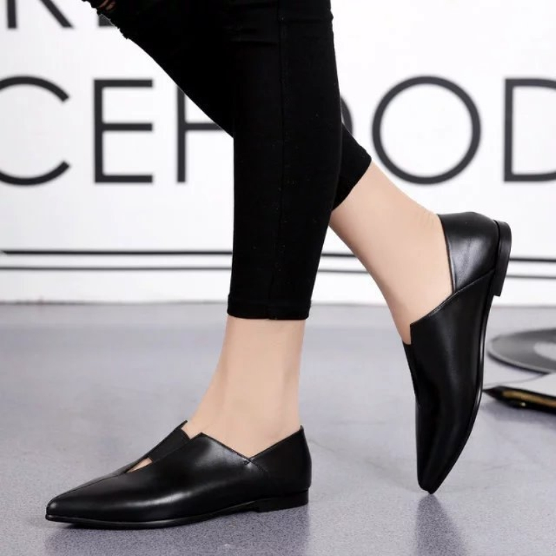 (76.25$)  Watch now  - New Arrival Women Pointed Toe Fashion Shoes Spring Autumn Genuine Leather Solid Flats Black Elastic Band Shallow Women Shoes