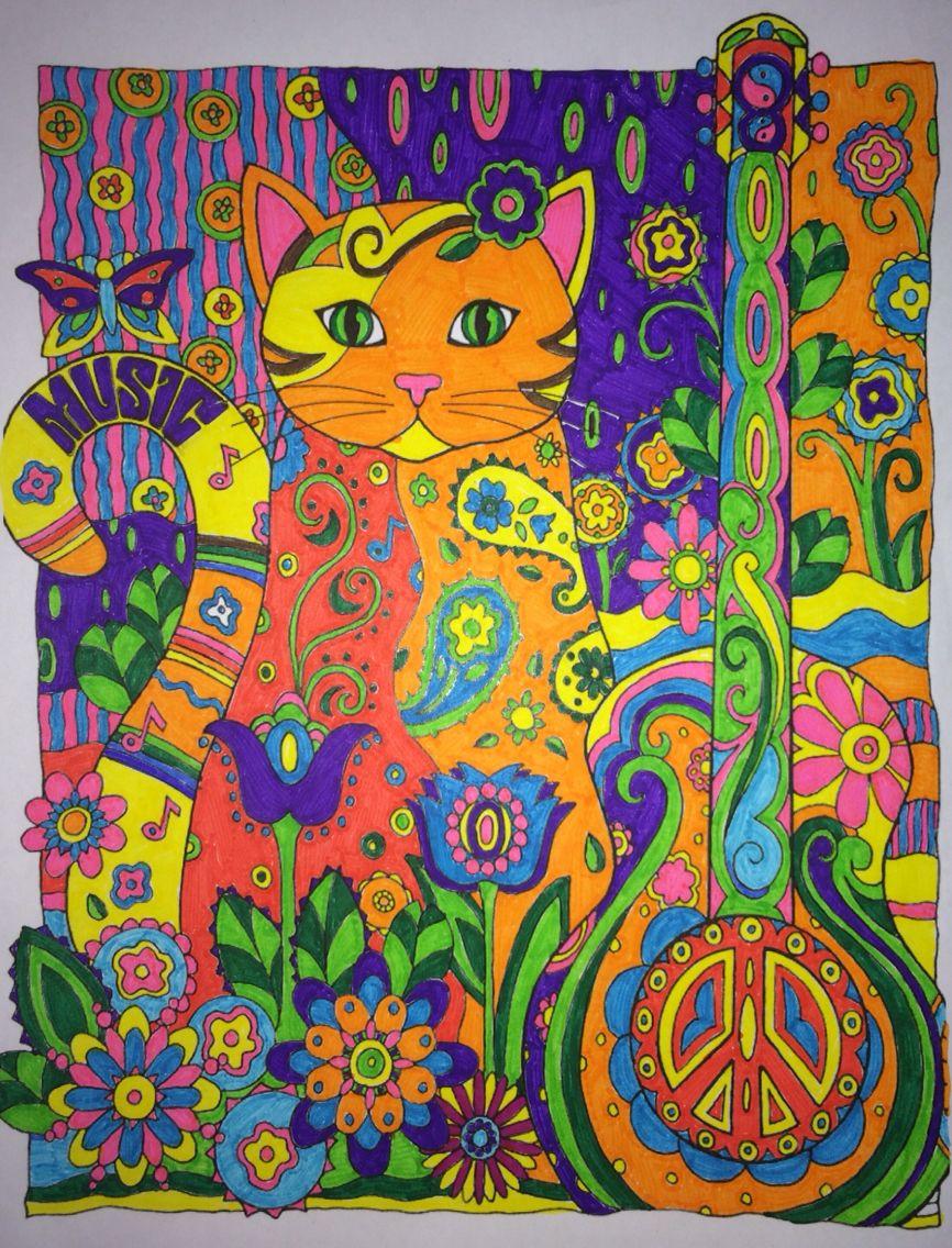 Psychedelicat creative catsowls pinterest creative coloring