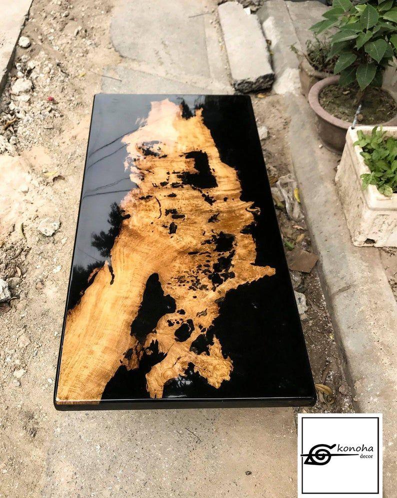 Table Basse Terrarium A Vendre table basse-table en résine époxy noir-tableau table basse