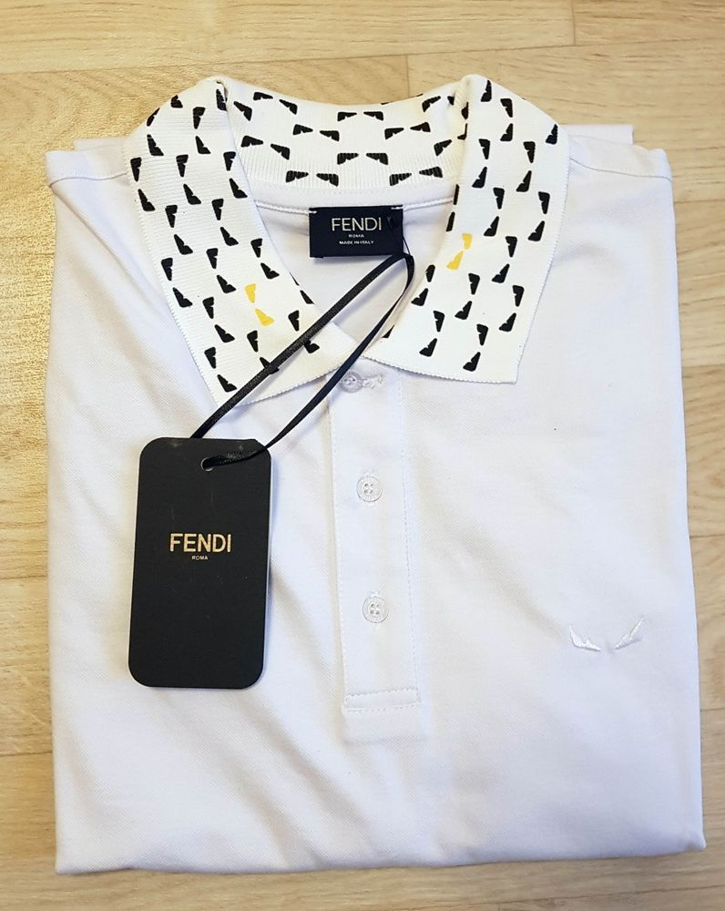 69be47d5 Men's FENDI logo embroidered polo shirt whit logo Fendi Bag Bugs eyes  FAF513A2 #fashion #clothing #shoes #accessories #mensclothing #sweaters  (ebay link)