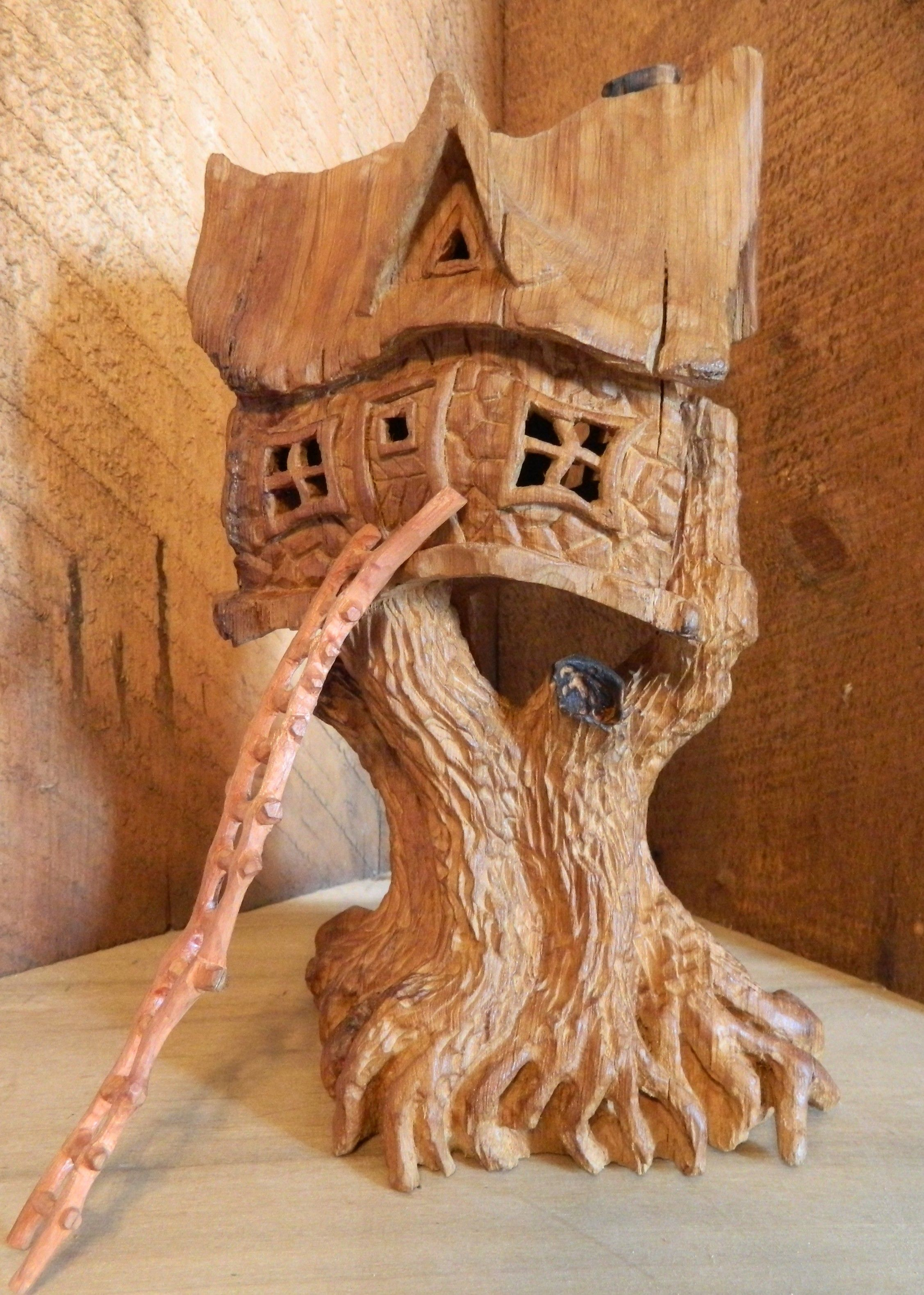 Cottonwood bark in the round tree house my wood carvings wood
