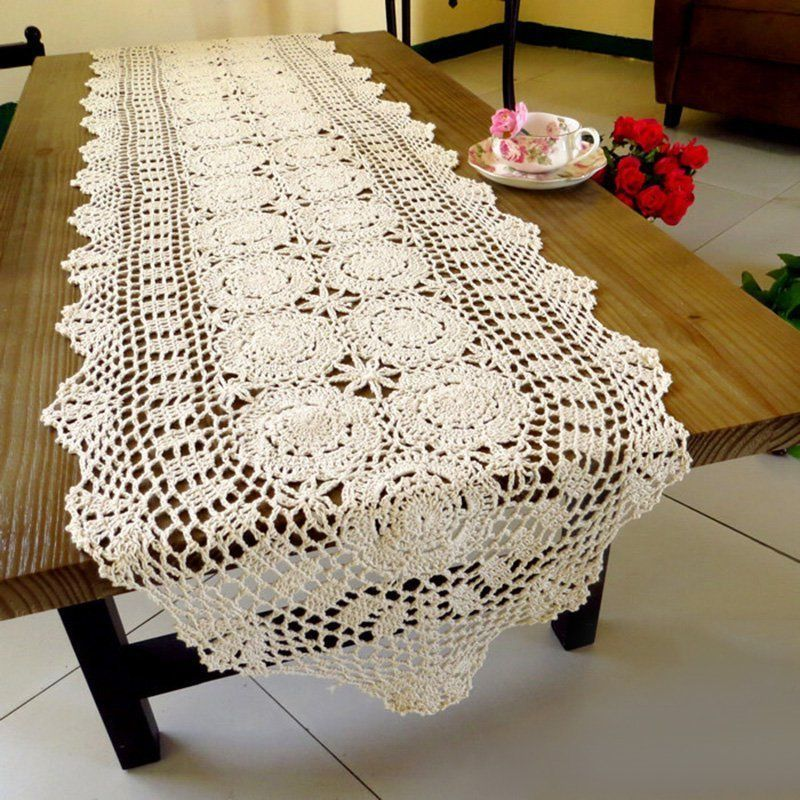 Venise Table Runner Crochet Lace Spreads Vintage Tablecloth Wedding