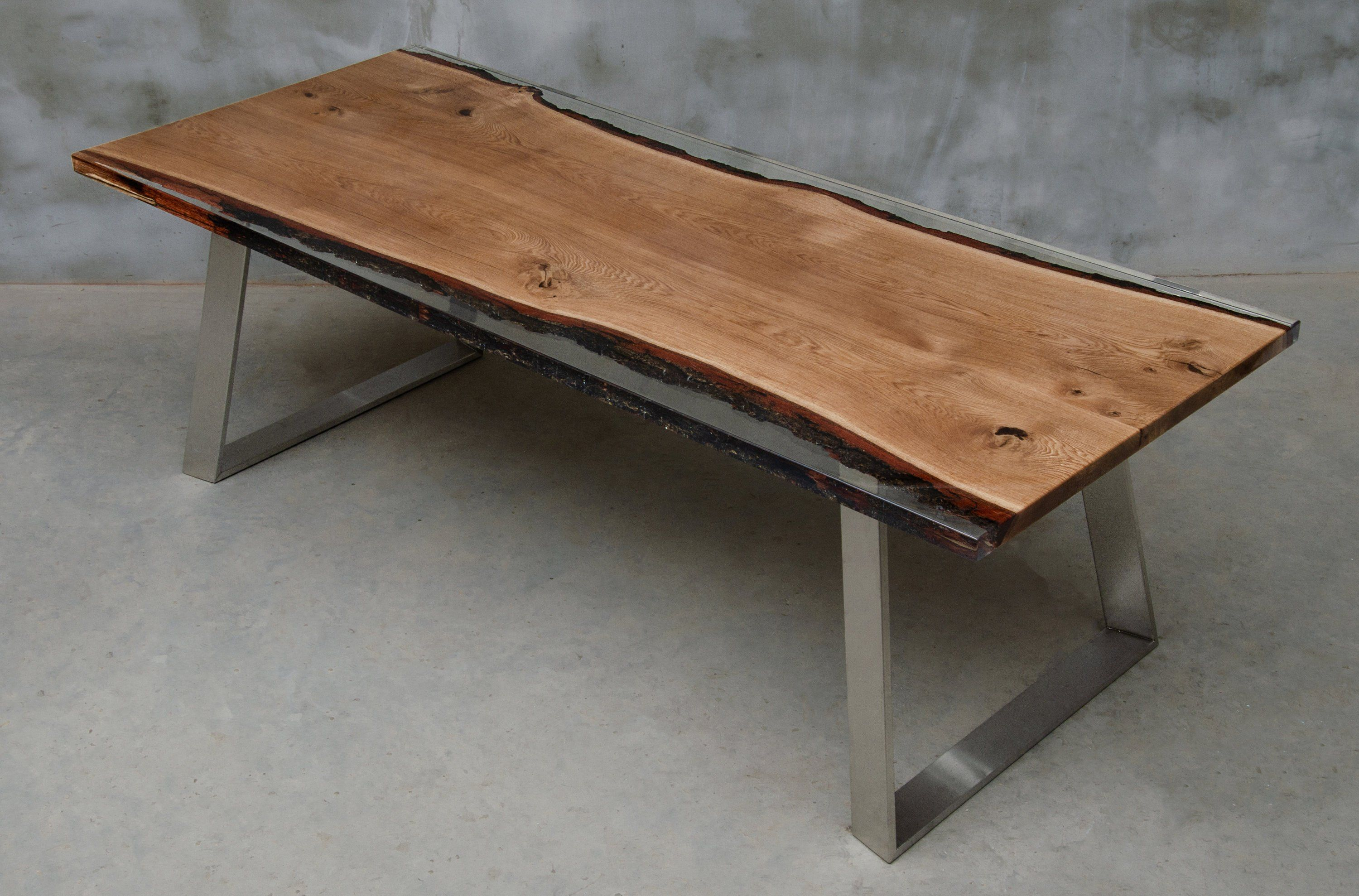 Custom Live Edge Table Made Of Oak Wood Epoxy Table With Steel Legs Uv Resin Table Modern Dining River Table Luxury Style