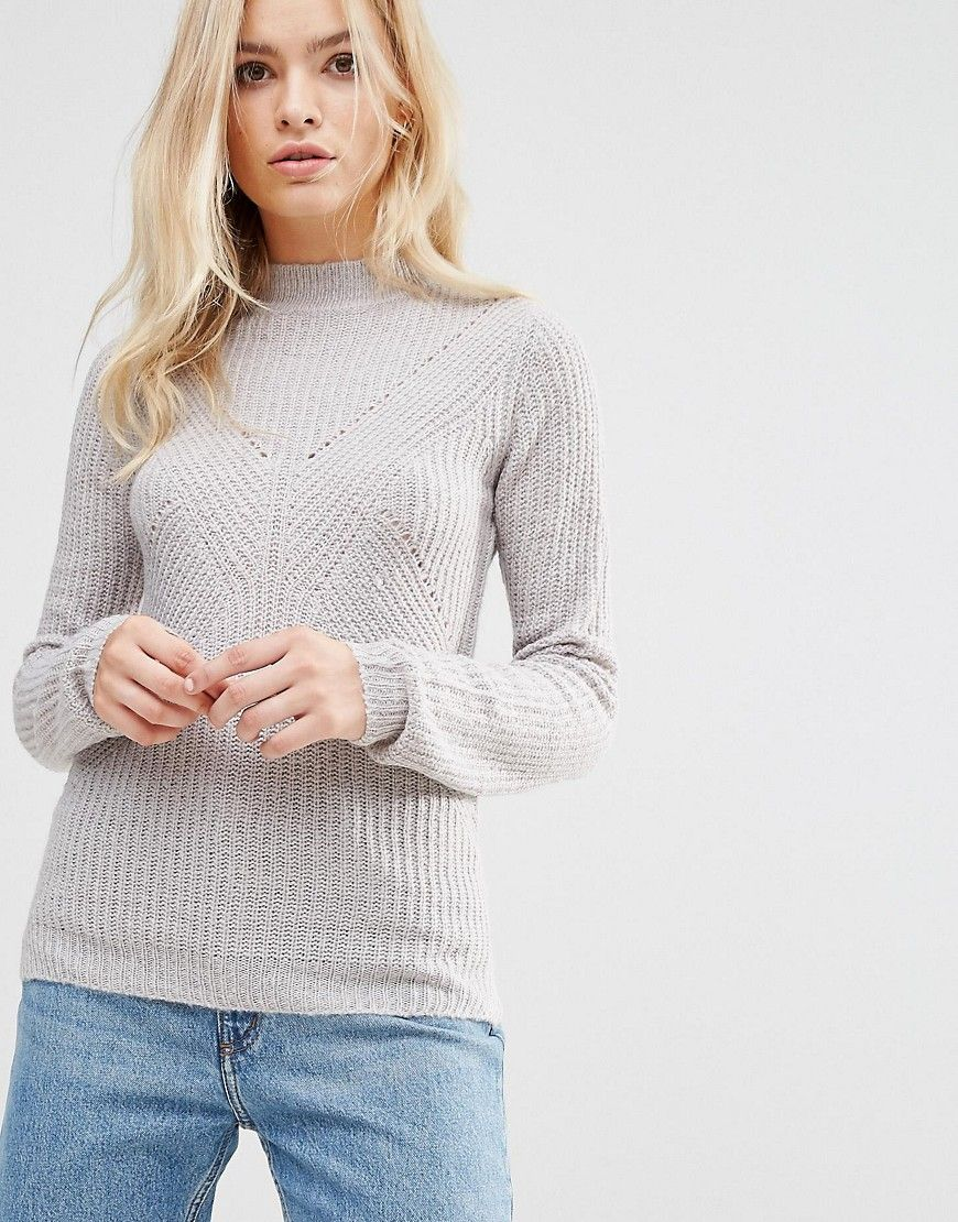 683b17a1b91e78 Click for more details. Worldwide shipping. Brave Soul Turtle Neck Rib  Jumper - Grey: Jumper by Brave Soul, Soft-touch knit, Turtle neck, Ribbed  trims, ...