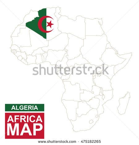 Africa contoured map with highlighted Algeria Algeria map and flag - copy world map africa continent