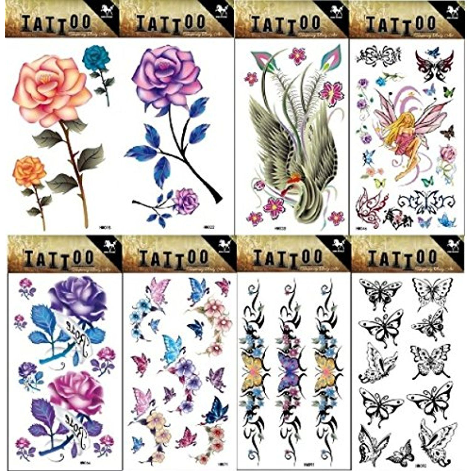8pcs different long lasting and realistic temp tattoo stickers designs in 1 package, it including colorful roses,angels and butterflies,phoenix,flowers tattoo stickers *** Click on the image for additional details. (This is an affiliate link and I receive a commission for the sales) #Makeup