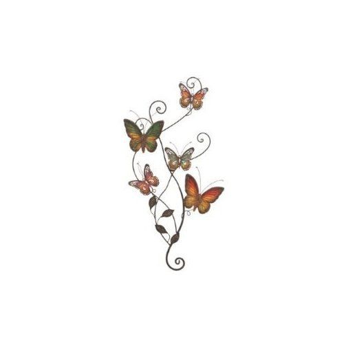 "Amazon.com: Butterfly Hand Painted Metal Wall Art 29""h, 15""w: Home & Kitchen"