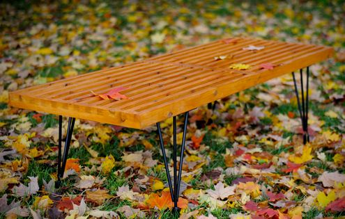Fine How To Make A Diy George Nelson Inspired Outdoor Slat Bench Theyellowbook Wood Chair Design Ideas Theyellowbookinfo