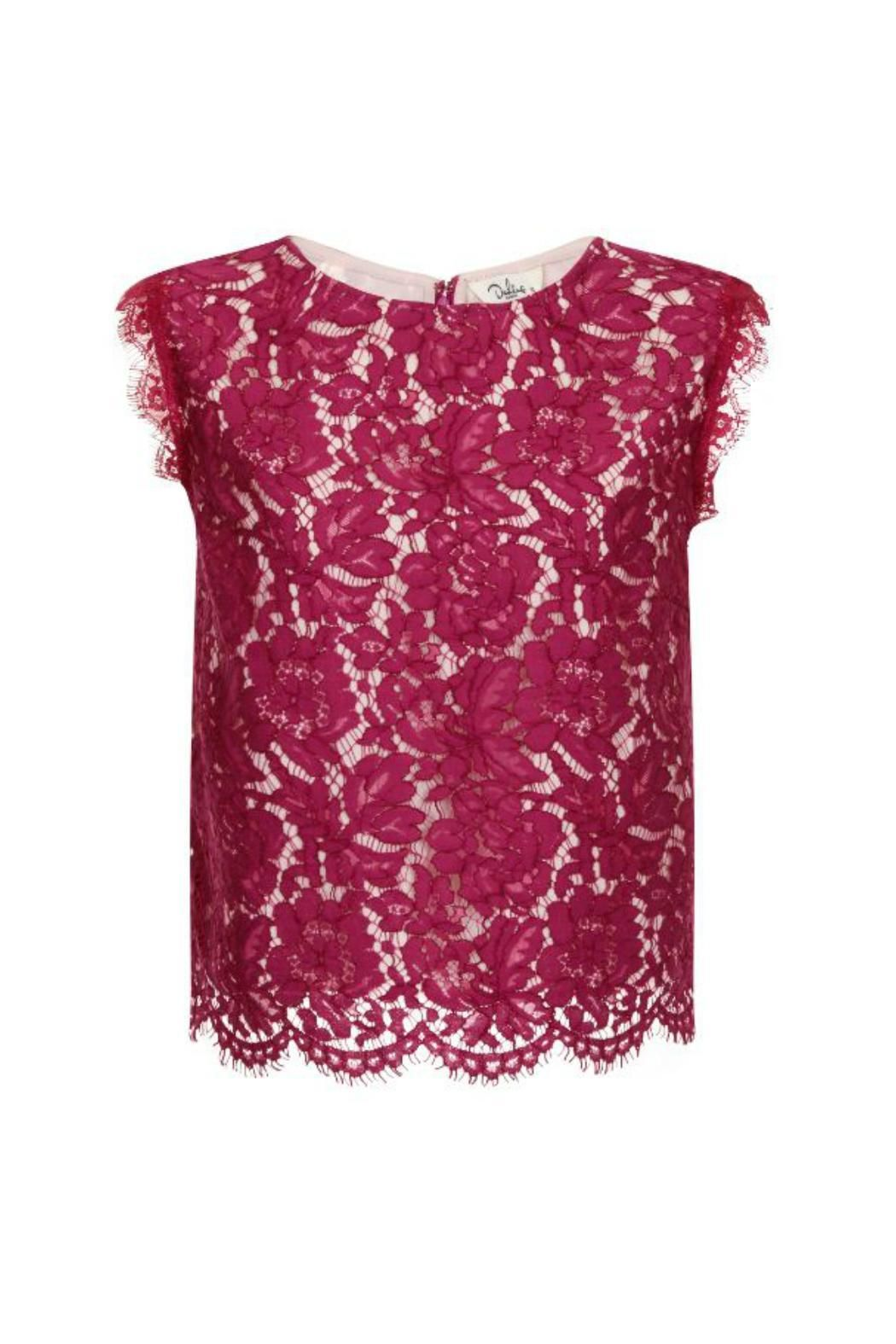 Magenta Lace top.Perfect with black skirt or pants! Shell: 36% cotton 34% nylon 30% viscose; Contrast 100% polyester; Lining: 100% polyester.  Lace Top by Darling. Clothing - Tops Canada