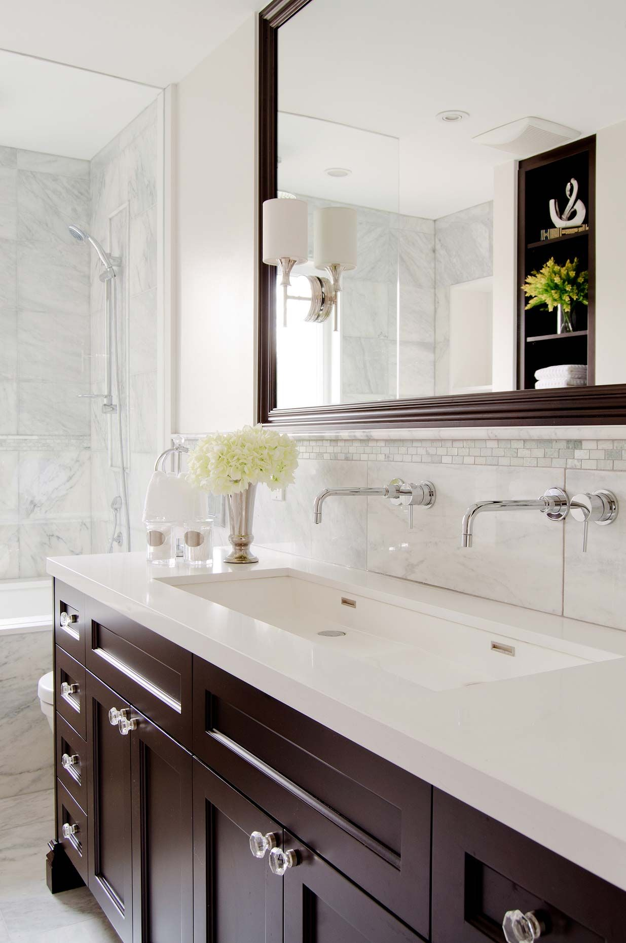 Small window ideas bathrooms  turned tub so its not in the wall but under the window  bathrooms