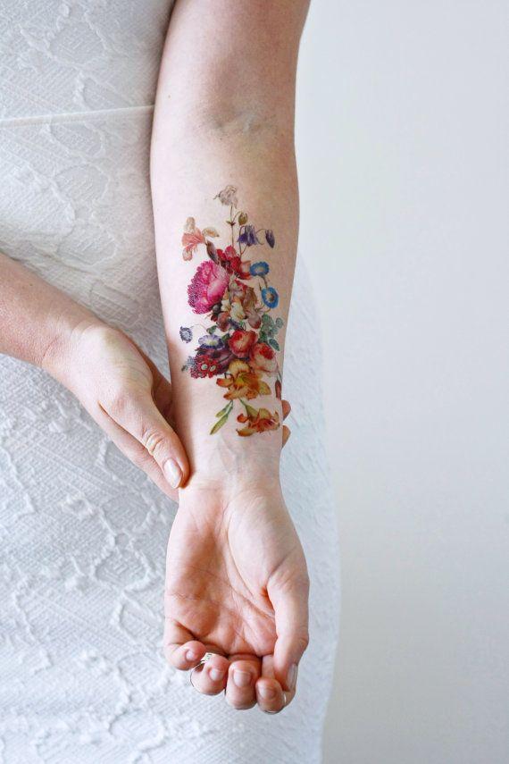 Vintage Floral Temporary Tattoo Boho Temporary Tattoo Festival