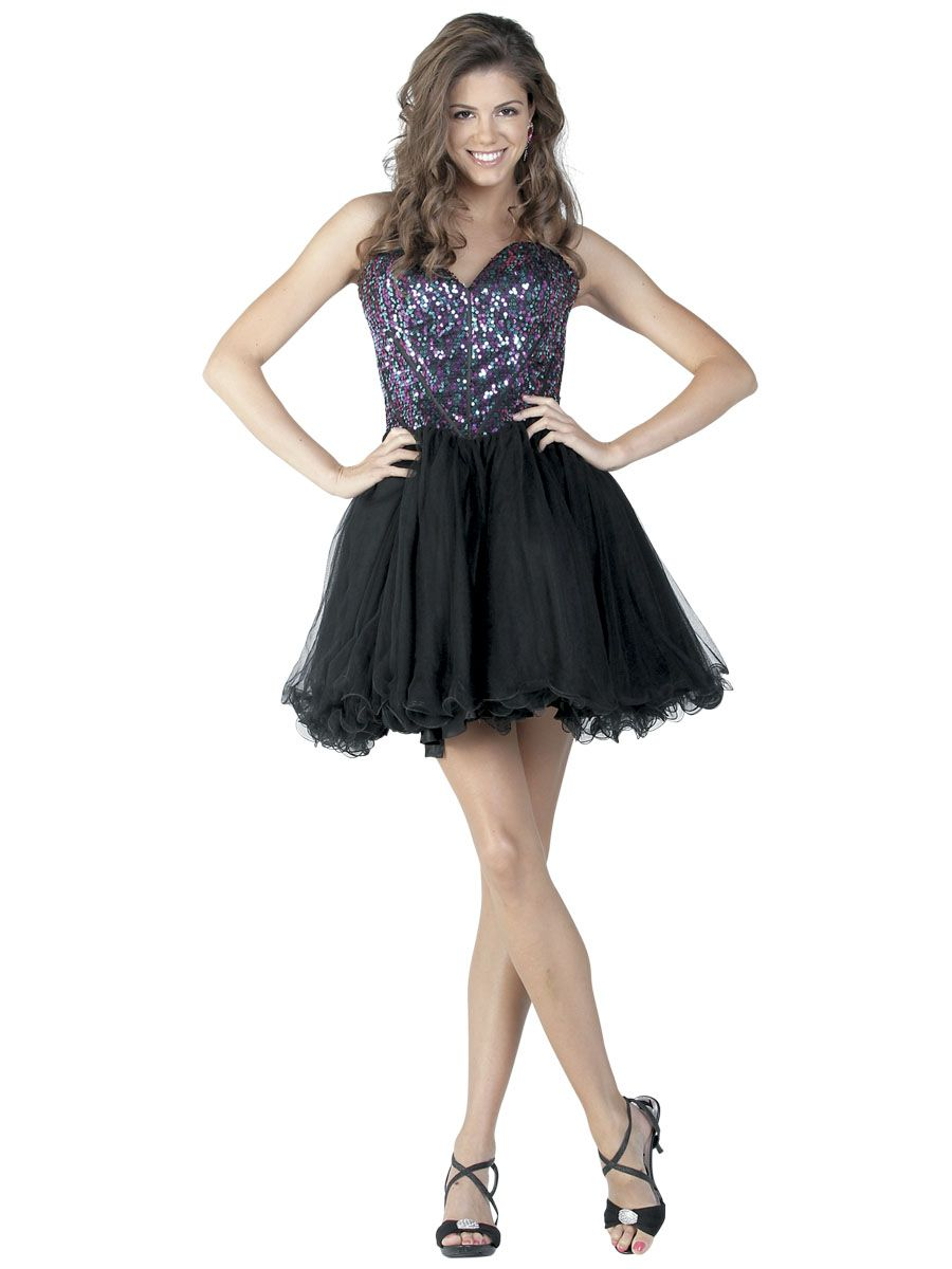 Gorgeous strapless sweetheart short dress with multicolor sequined