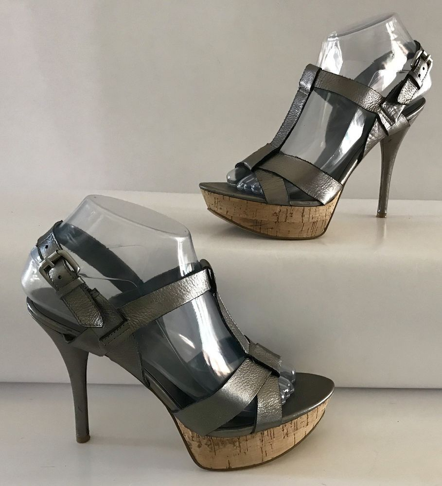 6346a8eb165b Nine West Farrowr Pewter Metallic Leather Cork Platform Stiletto Heels Shoes  7M