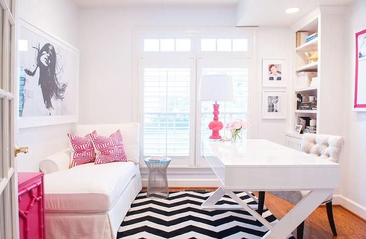 White And Pink Office Features A White Lacquered Desk Z