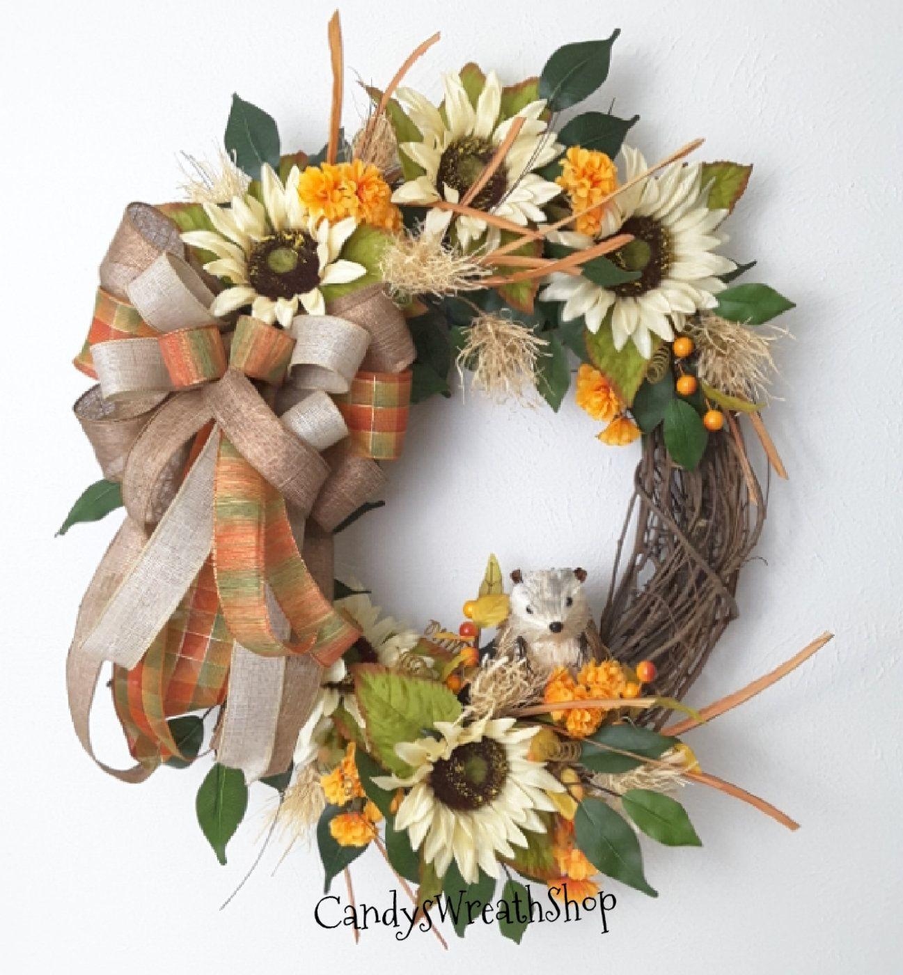 Photo of Sunflower vine, autumn sunflower wreath, flower vine, peasant wreath, autumn wreath, sunflower wreath, welcome wreath, autumn wreath