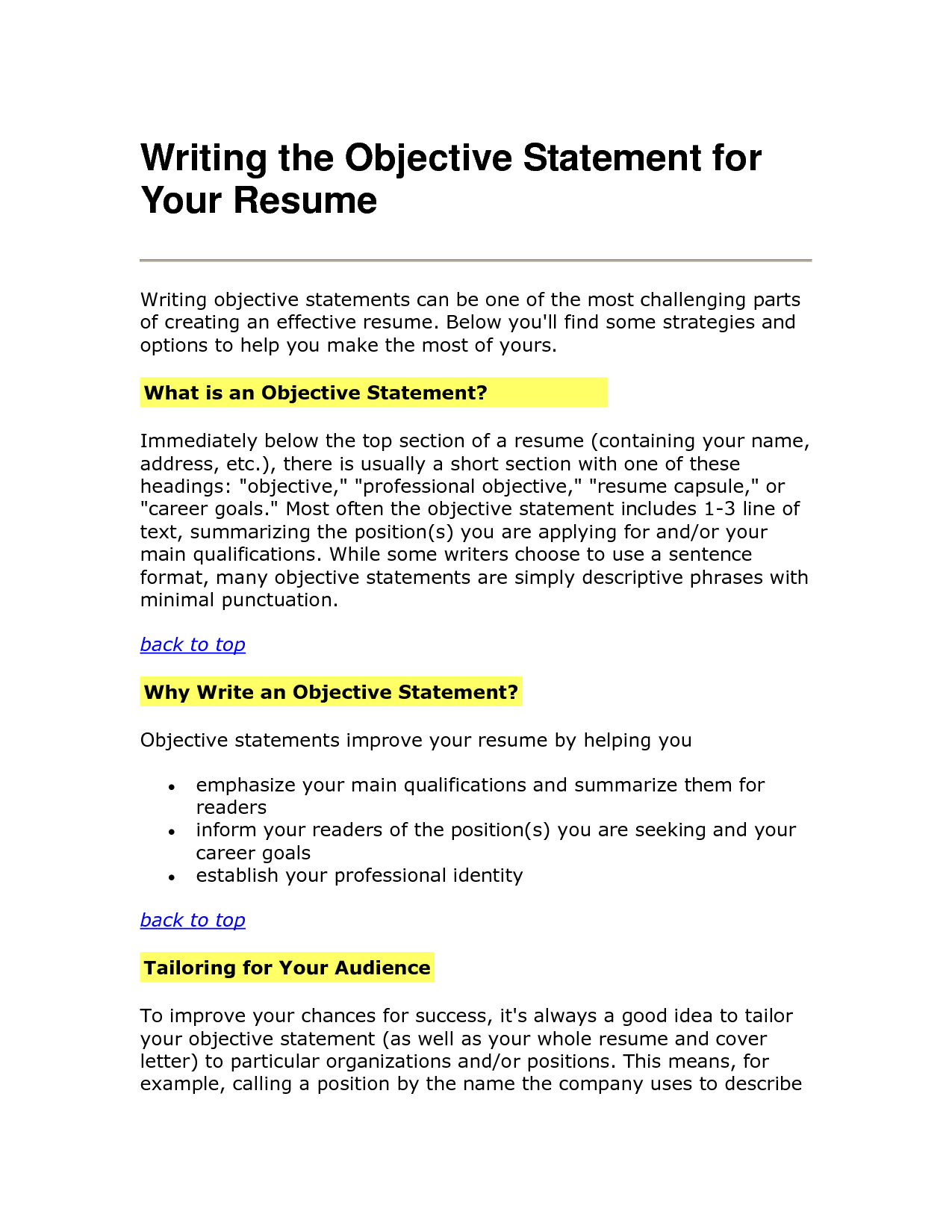 Resume Objective Statements  Cover Latter Sample