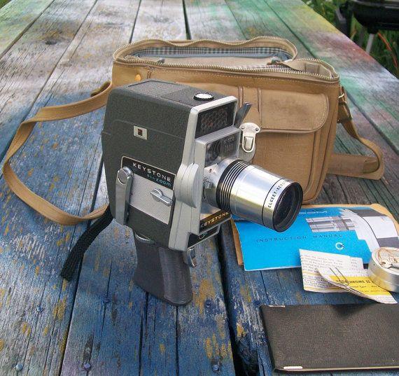 Vintage Keystone K-808 Zoom Movie Camera 8mm with bag by