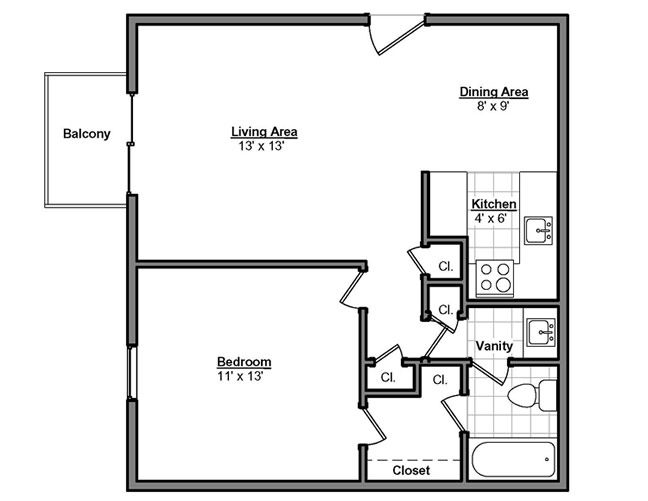 Facility And Apartment Info Greentree Village Apartments Bungalow Floor Plans One Bedroom House Plans Guest House Plans
