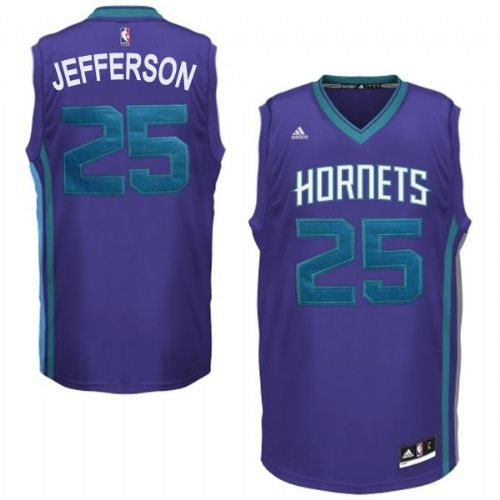 bb023524bca Charlotte Hornets  25 Al Jefferson Revolution 30 Swingman Road Purple Jersey