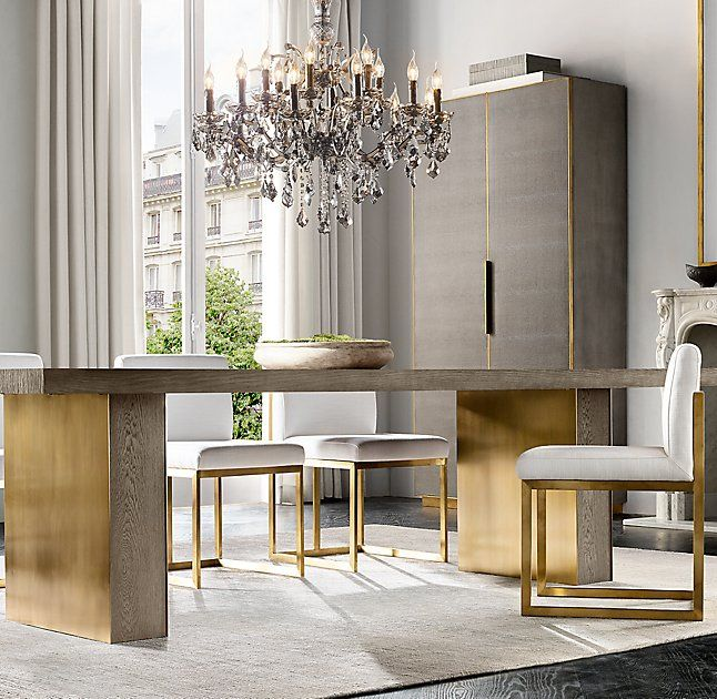 Rh Modern S Gage Rectangular Dining Table Textural And Tonal