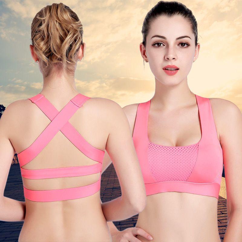043c6b29a149e RealLion Women Cross Design Sports Bra Push Up Shockproof Vest Tops with  Padding for Running Gym Fitness Jogging Yoga Shirt